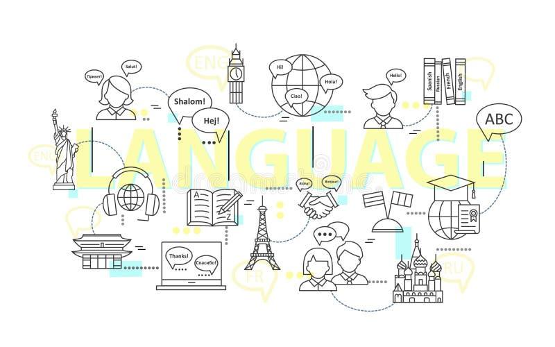 Linea sottile moderna concetti di apprendimento delle lingue straniere, scuola di formazione linguistica illustrazione vettoriale