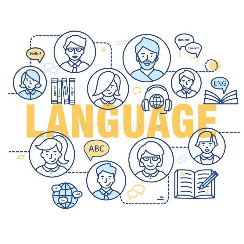 Linea sottile moderna concetti di apprendimento delle lingue straniere, scuola di formazione linguistica illustrazione di stock