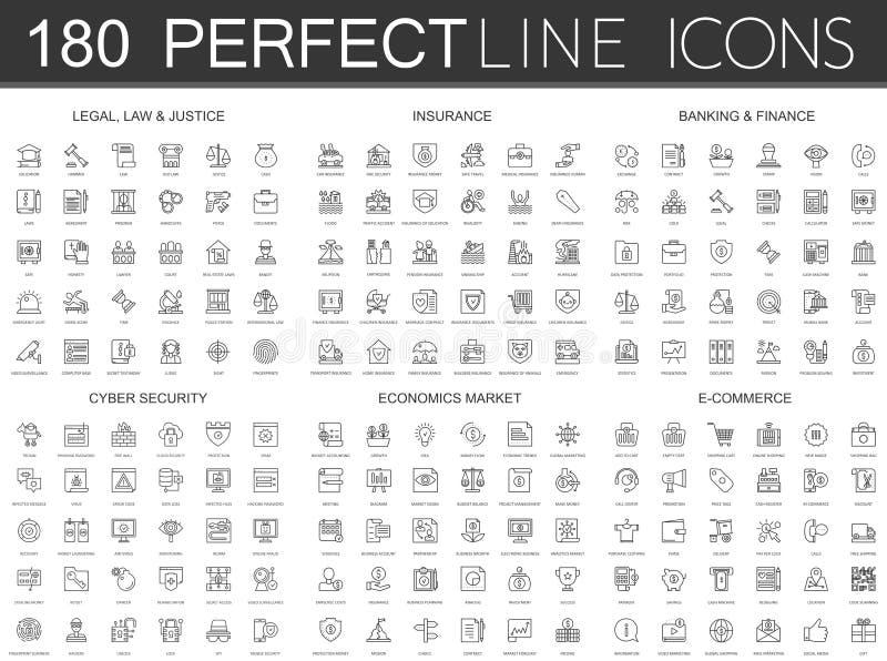 180 linea sottile moderna icone messe di legale, di legge e di giustizia, assicurazione, contante finanza, sicurezza cyber, merca illustrazione vettoriale