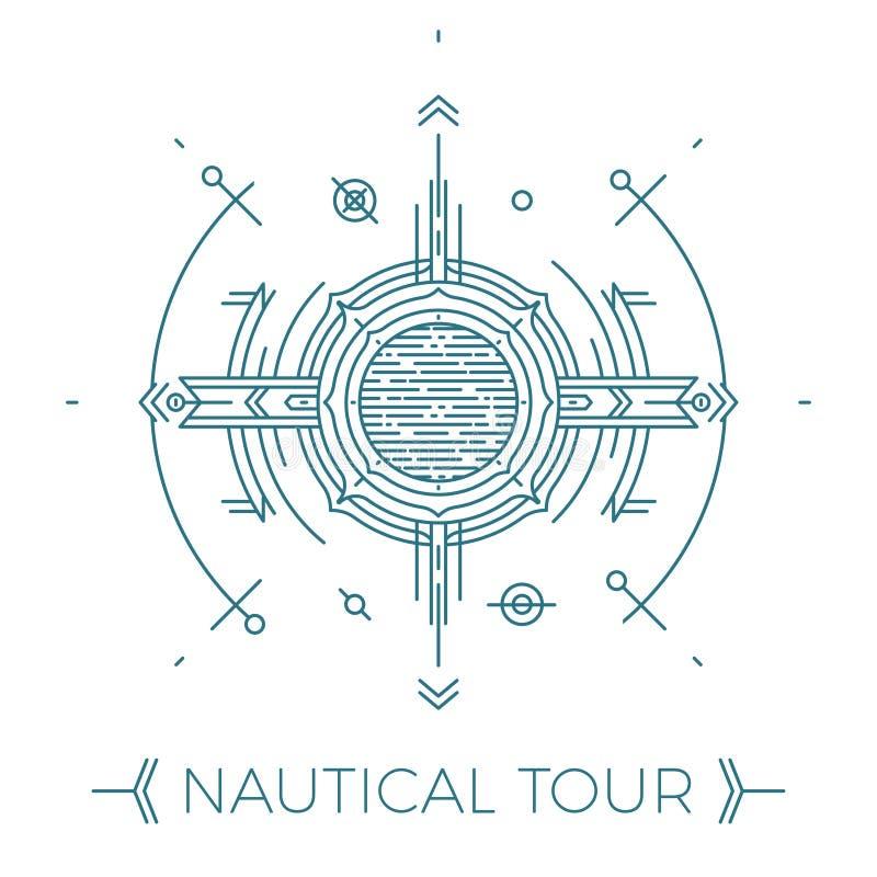 Linea sottile moderna illustrazione nautica Logo di giro del mare del profilo Mono progettazione astratta lineare semplice della  royalty illustrazione gratis