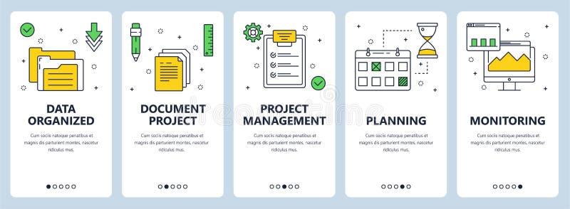 Linea sottile moderna insieme di vettore dell'insegna di web di concetto della gestione di progetti royalty illustrazione gratis