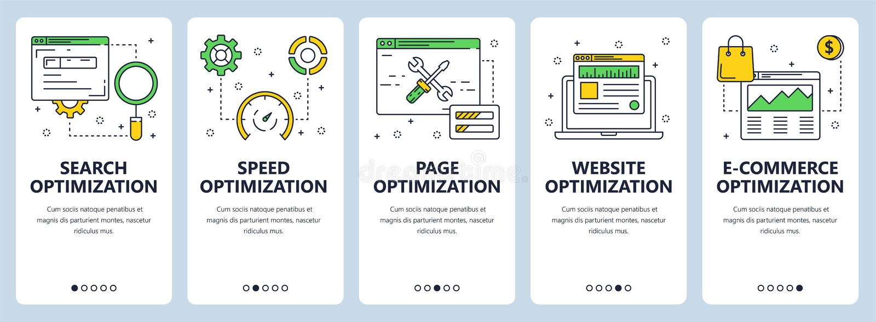Linea sottile moderna insieme di vettore dell'insegna di web di concetto di ottimizzazione di ricerca illustrazione di stock