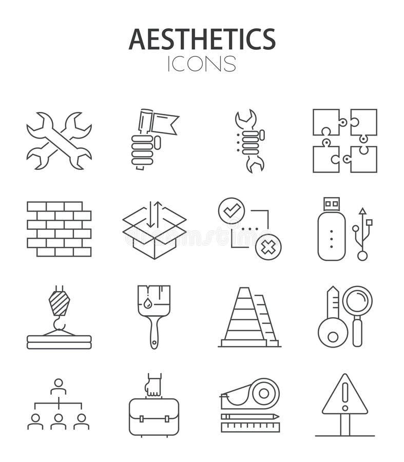 Linea sottile moderna progettazione piana di vettore dell'insieme delle icone royalty illustrazione gratis
