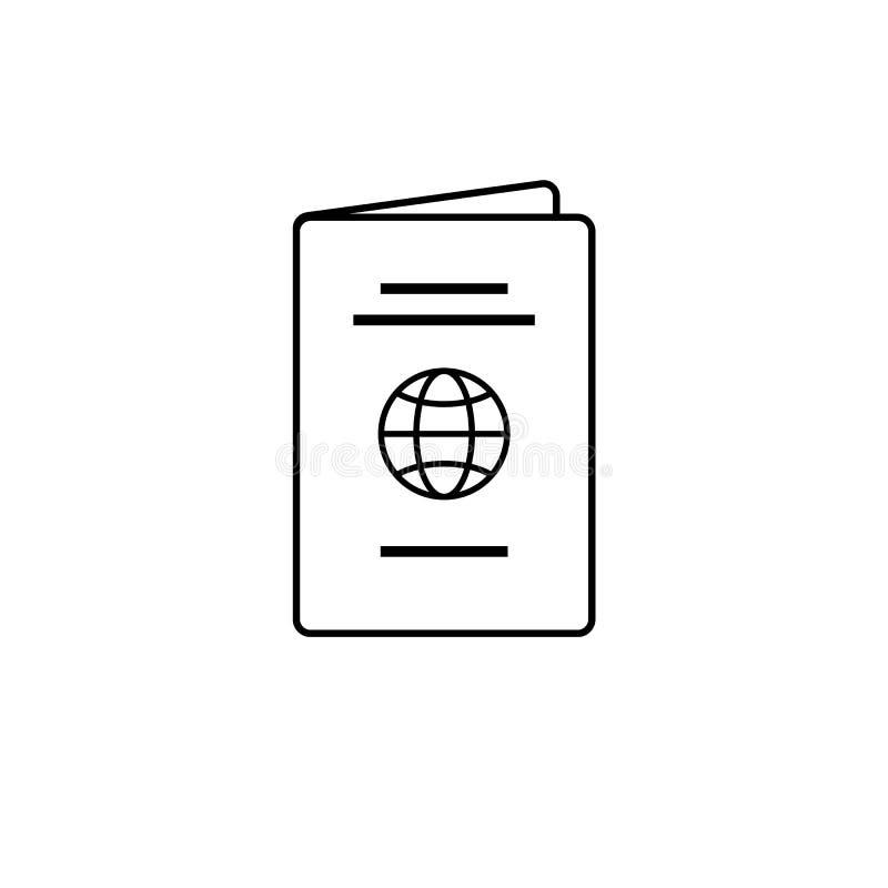 Linea sottile nera isolata icona del passaporto illustrazione vettoriale