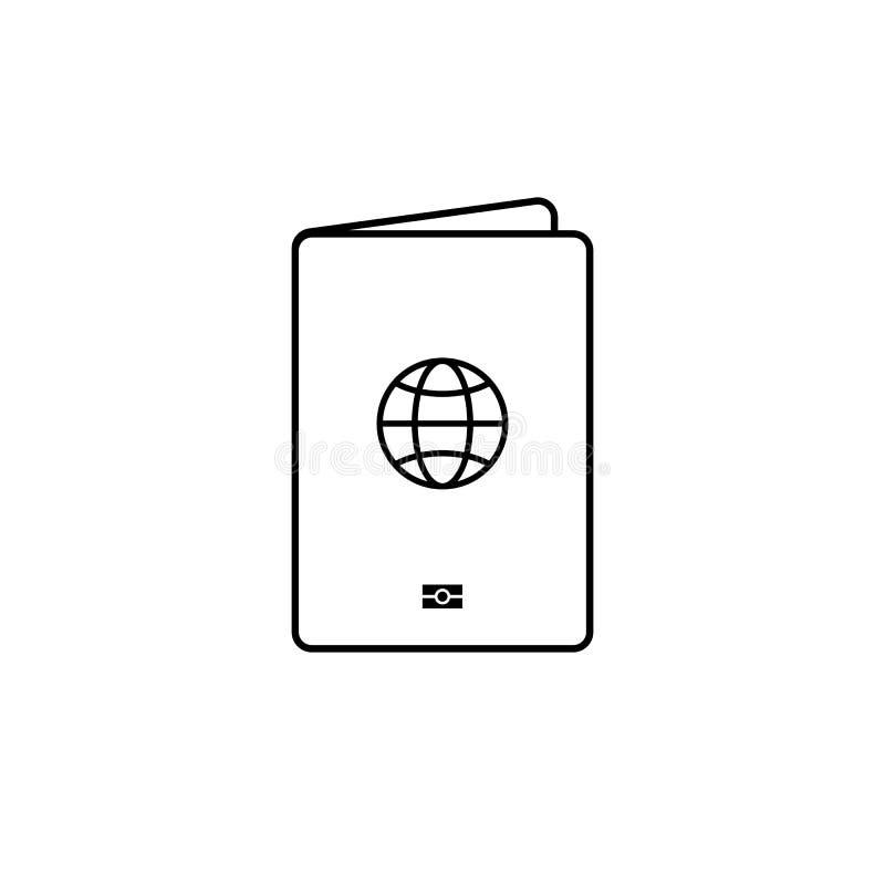 Linea sottile nera isolata icona del passaporto royalty illustrazione gratis
