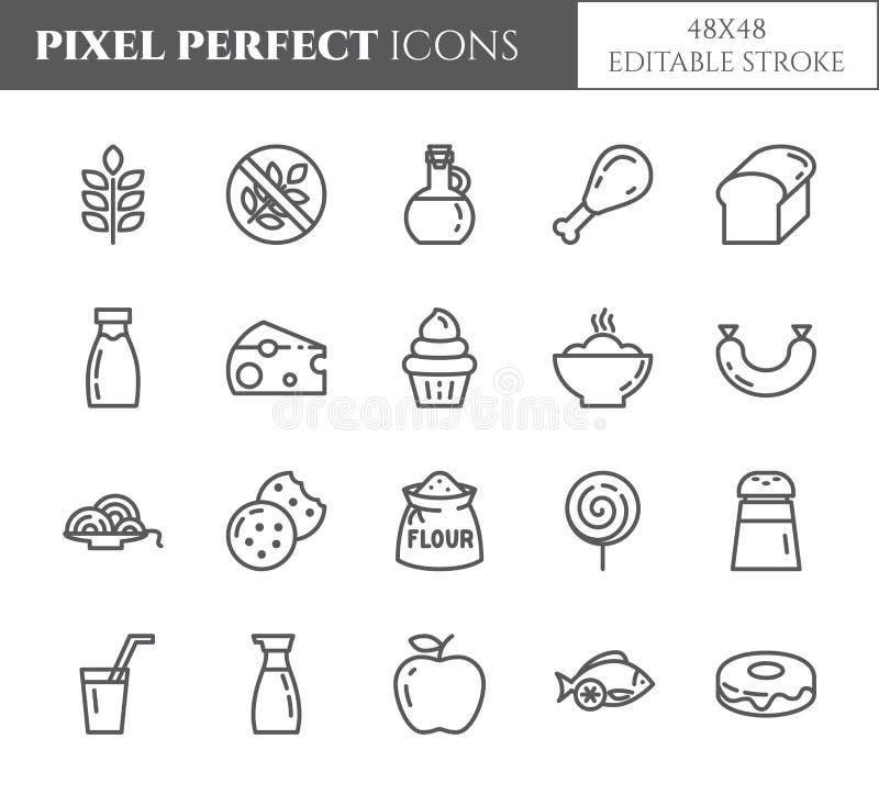 Linea sottile perfetta icone dei prodotti del glutine del pixel libero di tema L'insieme degli elementi di grano, la carne, i fru royalty illustrazione gratis