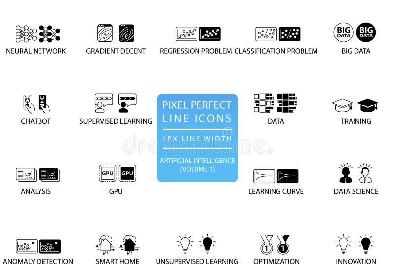 Linea sottile perfetta icone del pixel ed insieme di simboli per intelligenza artificiale/AI illustrazione di stock
