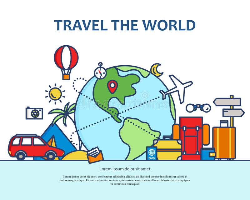 Linea sottile piana moderna illustrazione variopinta di vettore di progettazione, concetto di viaggio intorno al mondo, viaggio e royalty illustrazione gratis
