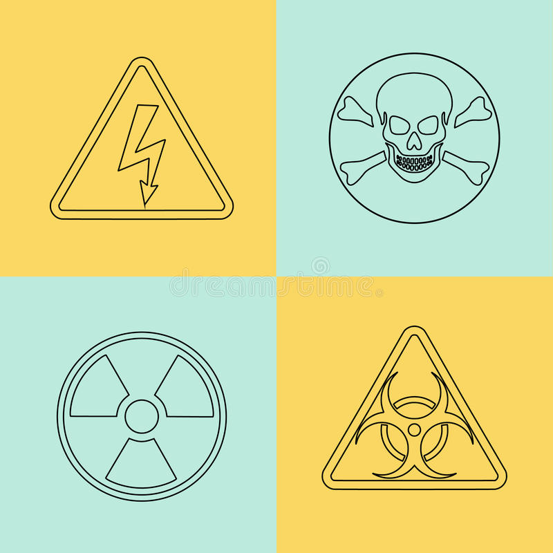 Linea sottile piana segnali di pericolo di vettore, simboli illustrazione vettoriale