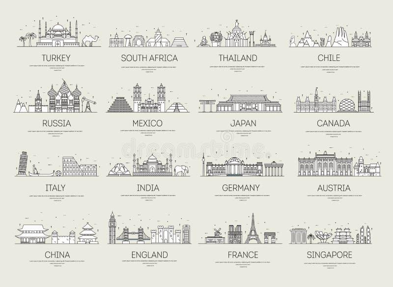 Linea sottile posti e caratteristiche del paese della guida di vacanza di viaggio delle icone Grande insieme del concetto del fon illustrazione di stock