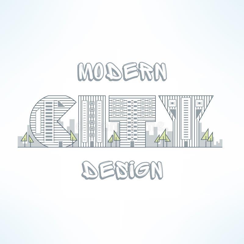 Linea sottile progettazione del fondo della città Siluetta piana della via della città Elemento urbano di progettazione fatto del illustrazione di stock