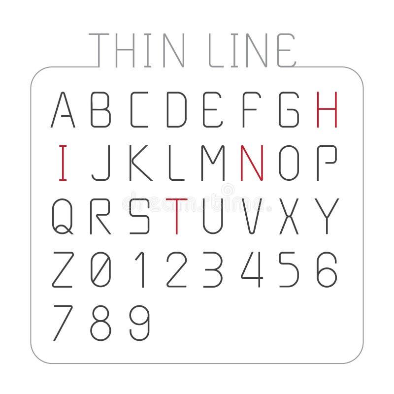 Linea sottile progettazione della fonte di vettore di stile del carattere di alfabeto royalty illustrazione gratis