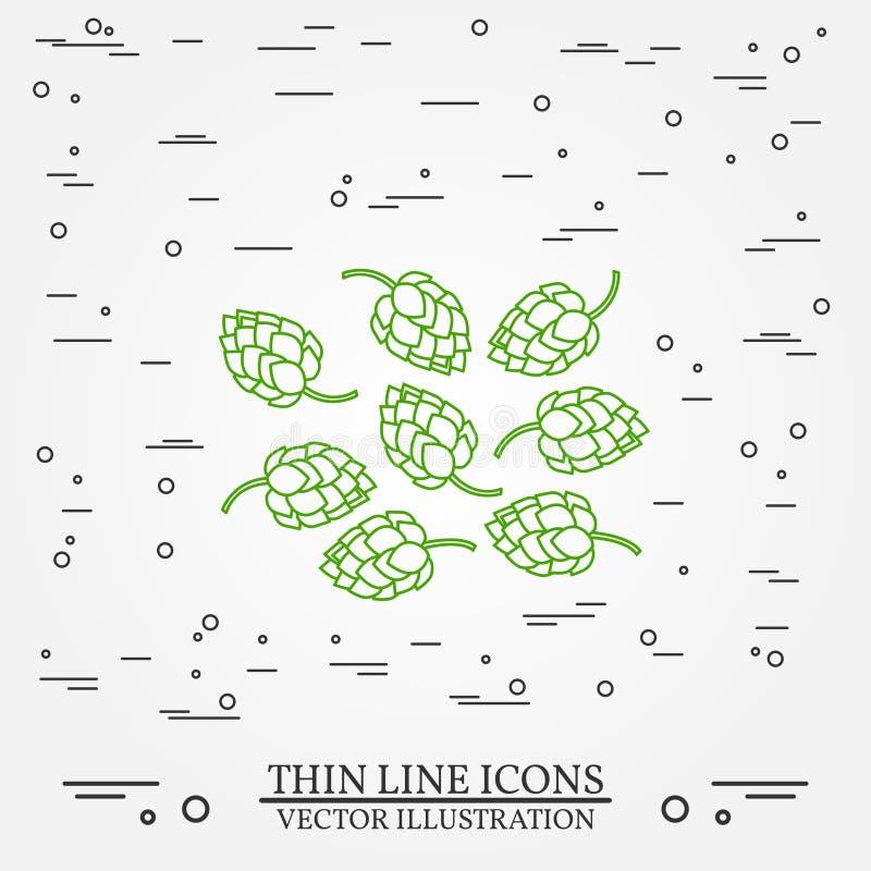 Linea sottile progettazione di luppolo Icona della penna di luppolo Vettore dell'icona della penna di luppolo illustrazione vettoriale