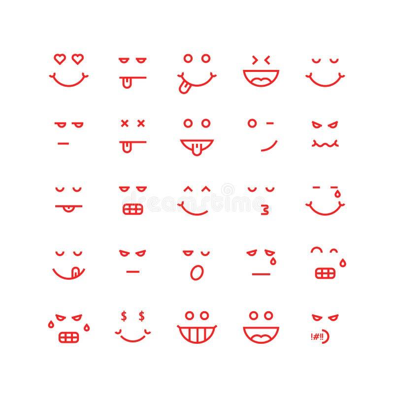 Linea sottile rossa icone di emoji illustrazione vettoriale
