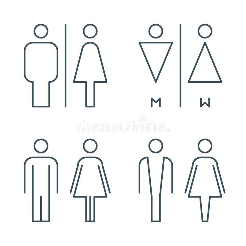 Linea sottile segni della porta della toilette illustrazione di stock
