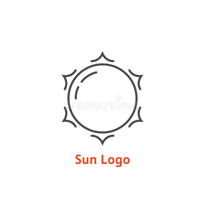 Linea sottile semplice logo del sole illustrazione vettoriale