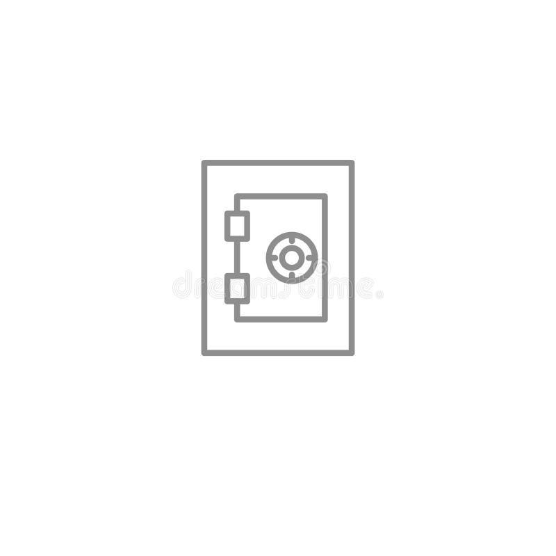 Linea sottile sicura icona dei soldi Simbolo di vettore della giustizia e di affari isolato illustrazione vettoriale