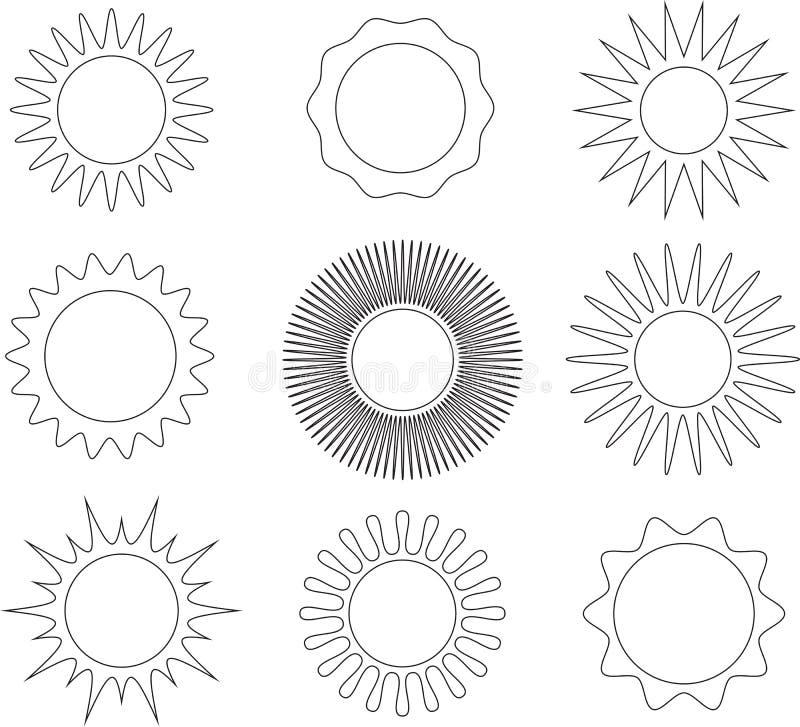 Linea sottile simboli del sole di stile illustrazione vettoriale