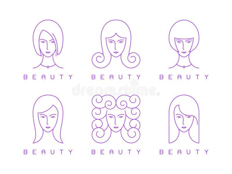 Linea sottile testa della ragazza, fronte della donna, logo di bellezza illustrazione di stock