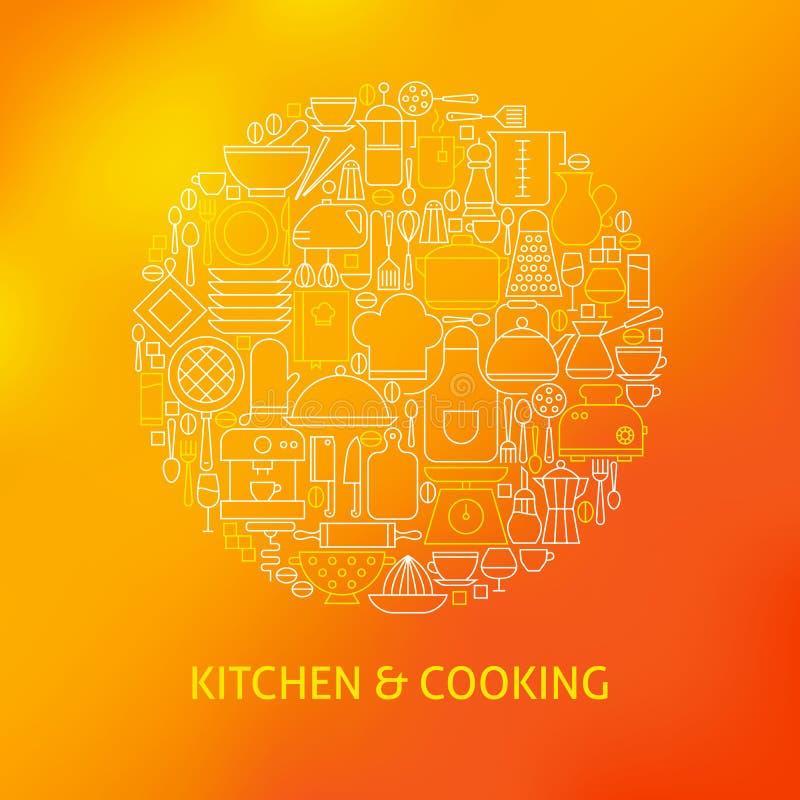 Linea sottile utensili da cucina ed icone dell'articolo da cucina messe illustrazione di stock