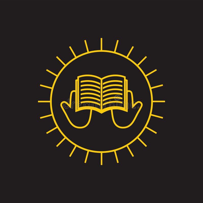 Linea sottile vettore del libro aperto della mano di lustro di logo di istruzione royalty illustrazione gratis