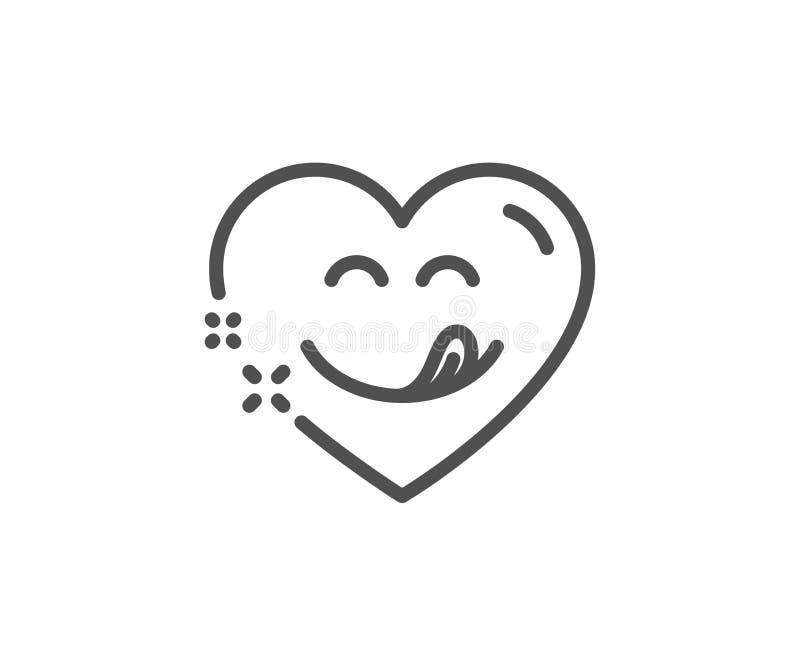 Linea squisita icona di sorriso Emoticon con il segno della lingua Cuore comico Vettore illustrazione vettoriale