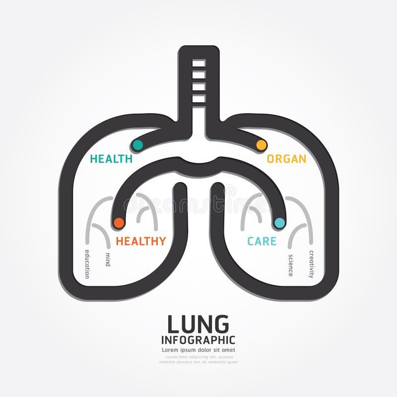 Linea stile del diagramma di concetto dell'organo di progettazione del polmone di vettore di Infographics royalty illustrazione gratis