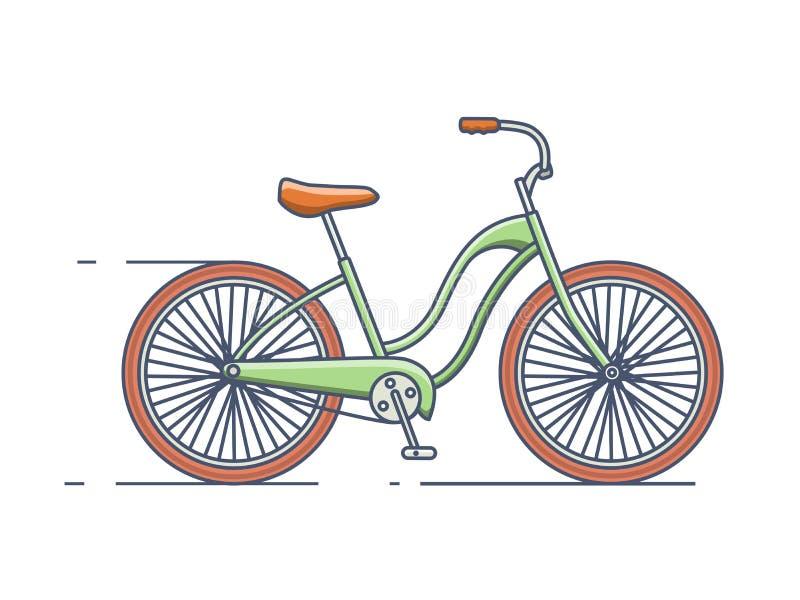 Linea stile della bicicletta illustrazione di stock