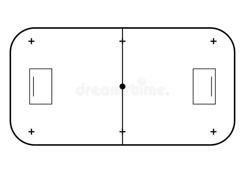 Linea stile della corte di Floorball di arte Fondo di sport illustrazione vettoriale