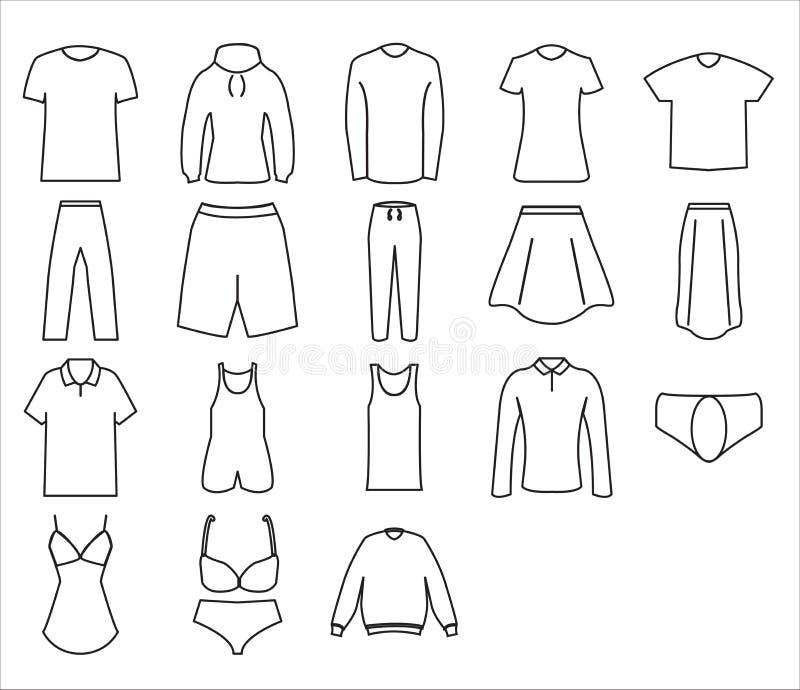 Linea stile di progettazione di insieme dell'icona del panno illustrazione vettoriale