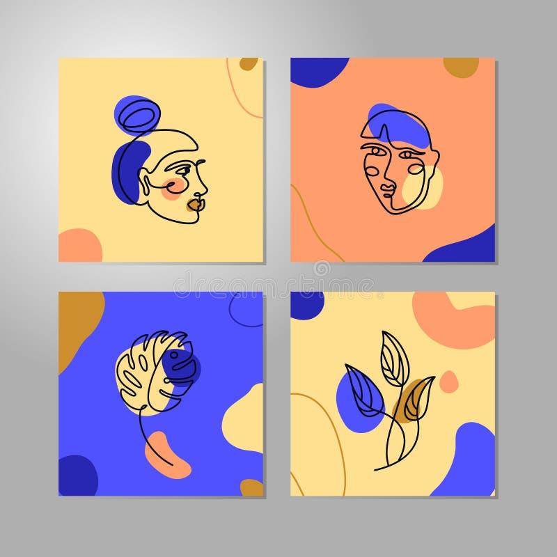 Linea stile minima del fronte della donna stabilita Una linea continua monstera femminile del ritratto e della foglia di vettore  illustrazione vettoriale