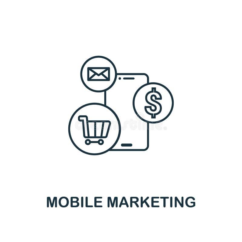 Linea stile sottile dell'icona mobile di vendita Simbolo dalla raccolta commercializzante online delle icone Icona mobile di vend illustrazione vettoriale
