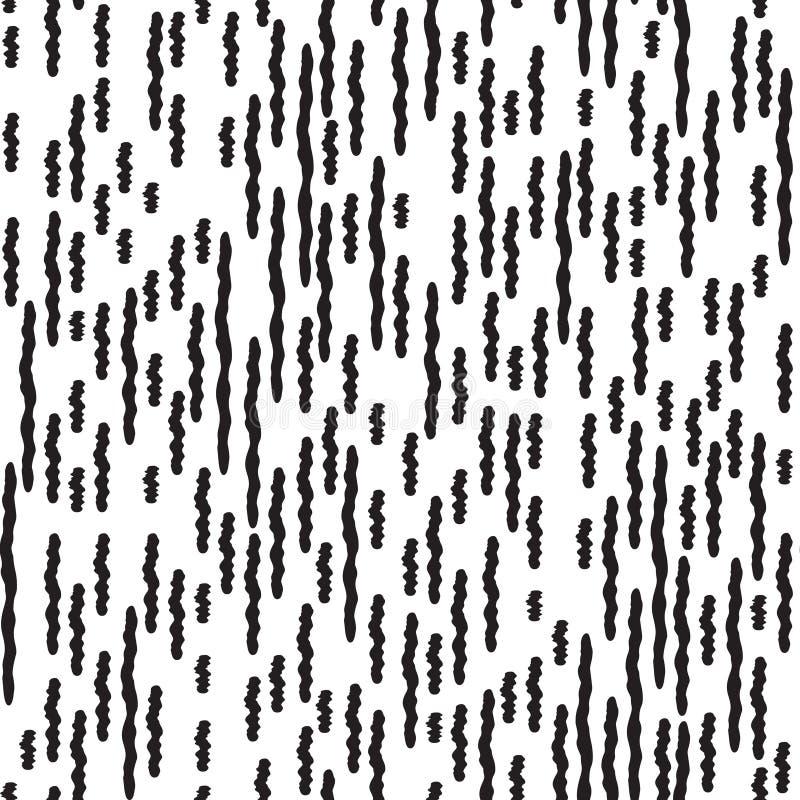 Linea a strisce modello senza cuciture dell'irregolare astratto Il nero e briciolo illustrazione di stock
