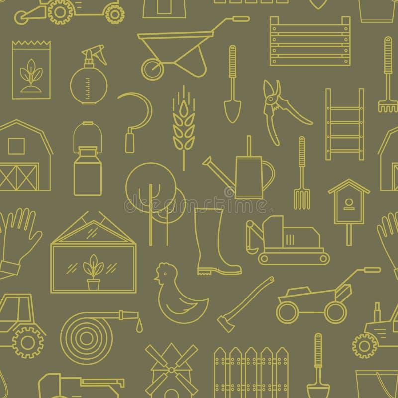 Linea strumenti di giardino dell'icona del modello verde oliva illustrazione di stock