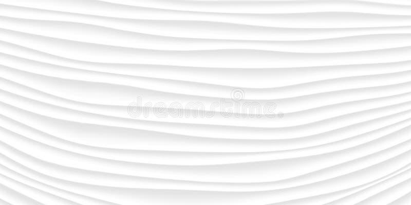 Linea struttura di bianco modello astratto grigio senza cuciture Na ondulato dell'onda illustrazione di stock
