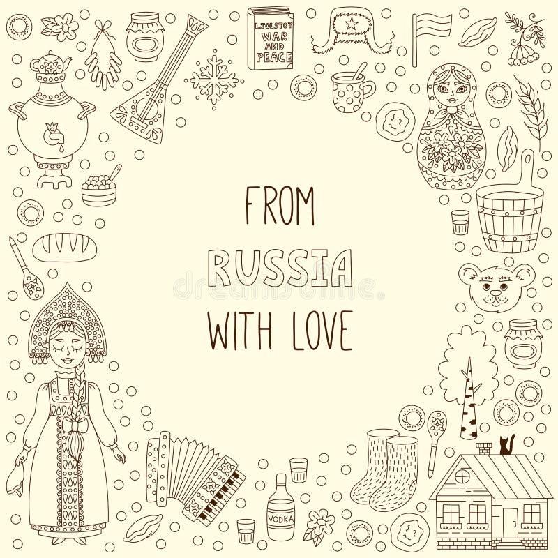 Linea struttura rotonda di scarabocchio delle icone della Russia di simboli royalty illustrazione gratis