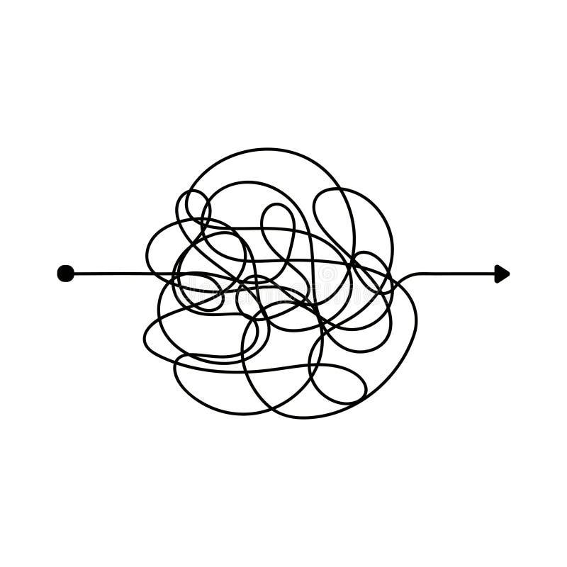 Linea sudicia insana Modo complicato della bugna Percorso aggrovigliato di vettore dello scarabocchio illustrazione vettoriale