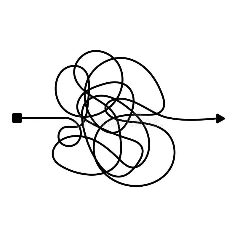 Linea sudicia insana Modo complicato della bugna Percorso aggrovigliato di vettore dello scarabocchio Processo difficile caotico  illustrazione di stock