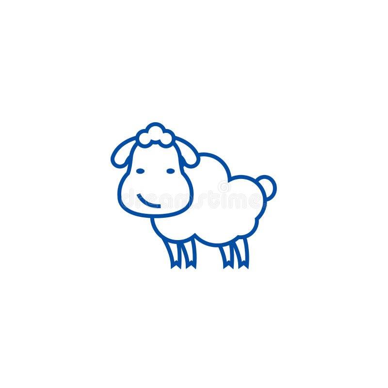 Linea sveglia concetto delle pecore dell'icona Simbolo piano di vettore delle pecore sveglie, segno, illustrazione del profilo illustrazione vettoriale