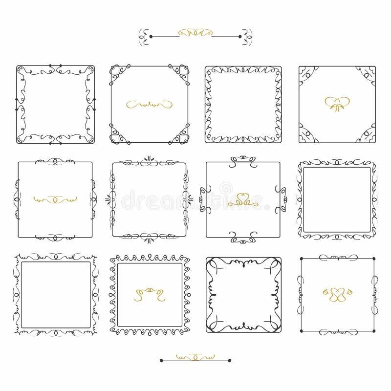 Linea sveglia icone di scarabocchio nero dell'emblema delle strutture del quadrato messe illustrazione vettoriale