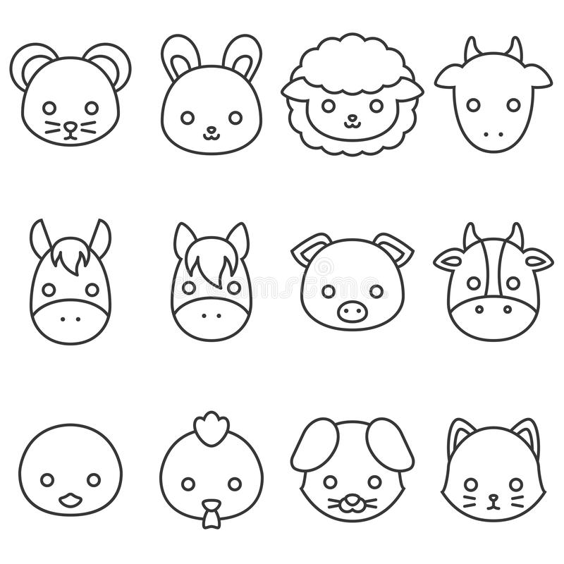 Linea sveglia insieme dell'animale da allevamento del fumetto dell'icona royalty illustrazione gratis