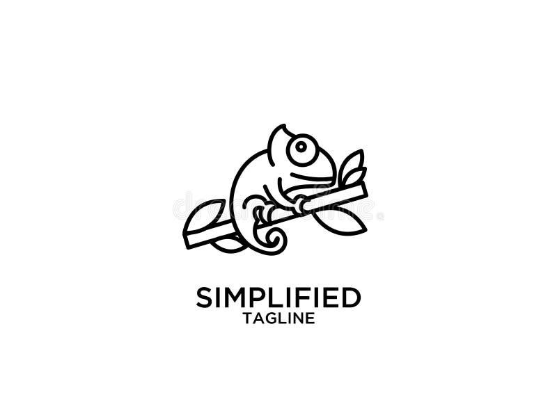 Linea sveglia vettore del profilo del nero del camaleonte della lucertola di progettazioni dell'icona di logo della siluetta dell illustrazione vettoriale