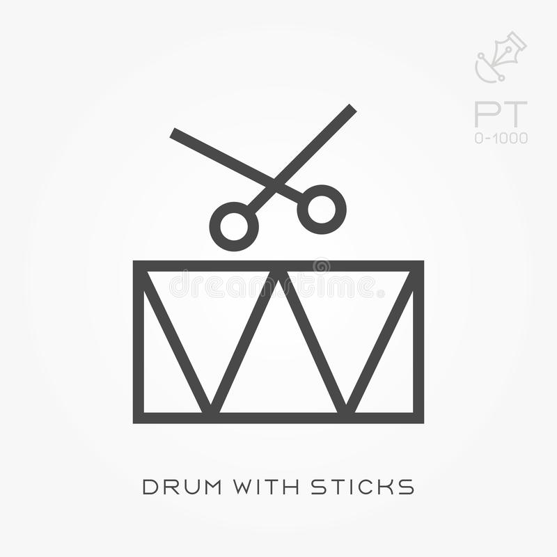 Linea tamburo dell'icona con i bastoni illustrazione di stock