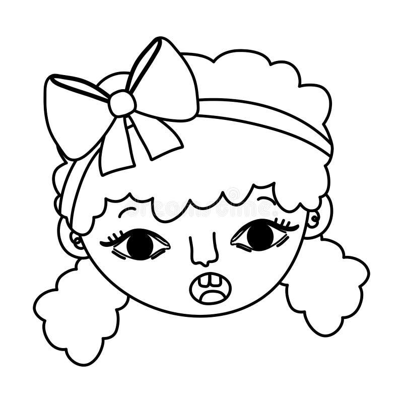 Linea testa sorpresa della ragazza del bambino con l'acconciatura illustrazione di stock