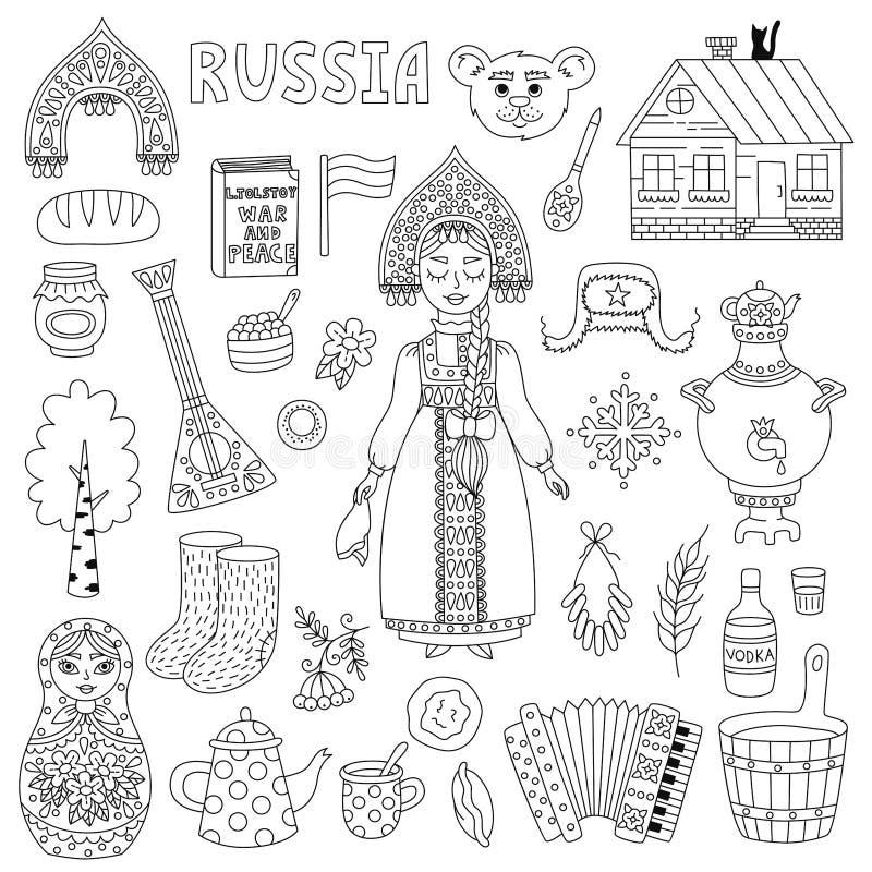 Linea tradizionale insieme di simboli delle icone di scarabocchio della Russia di vettore illustrazione di stock