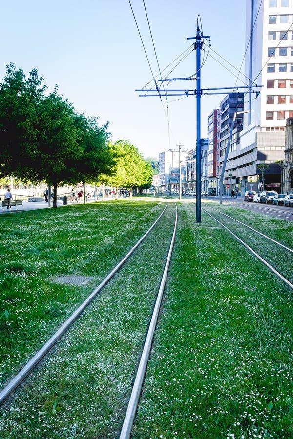 Linea tranviaria a Bilbao fotografia stock