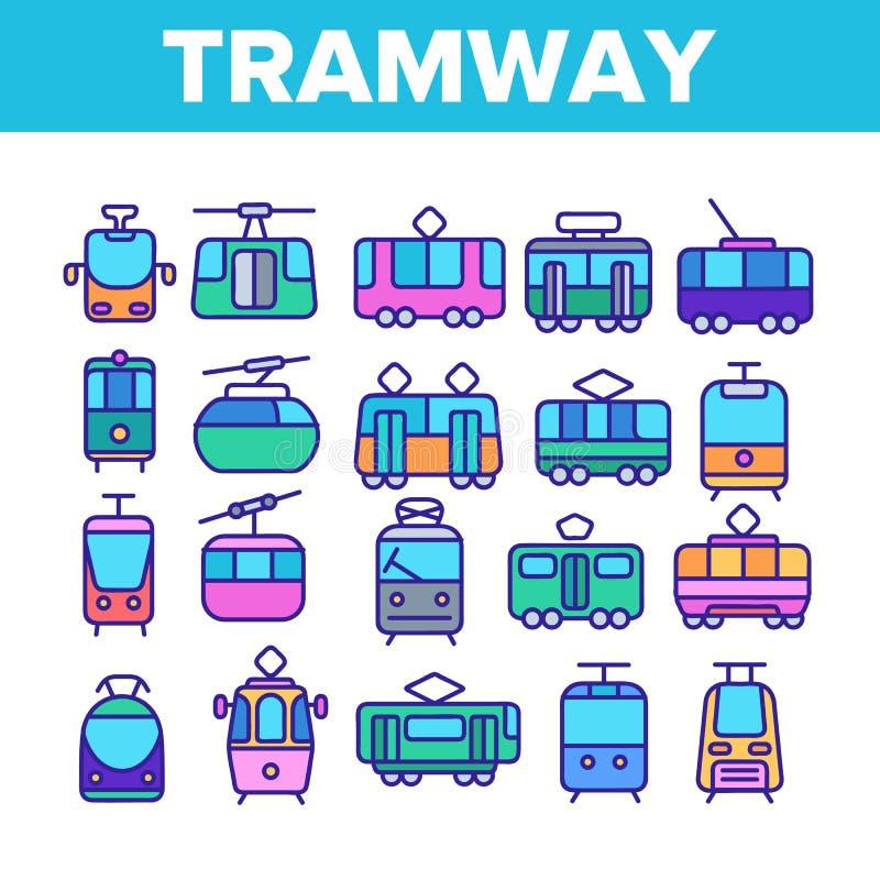 Linea tranviaria, linea sottile insieme di trasporto urbano delle icone illustrazione vettoriale