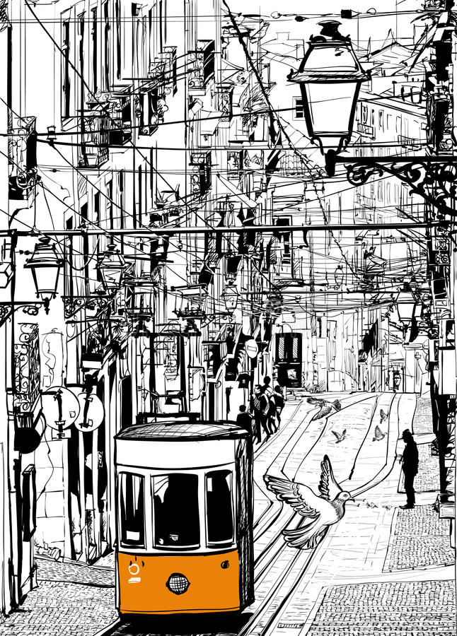 Linea tranviaria tipica a Lisbona vicino al quadrato di Chiado royalty illustrazione gratis