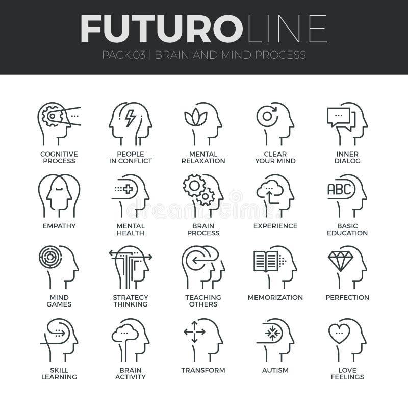 Linea trattata icone di Futuro di mente umana messe illustrazione di stock