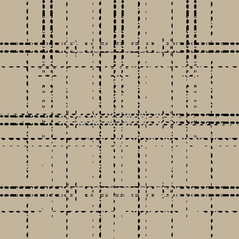 Linea tratteggiata nera di griglia di lerciume su fondo marrone illustrazione vettoriale